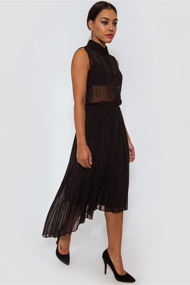 Ileana Asymmetrical Black Midi Dress
