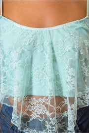 Diablo Lace Crop Top In Mint