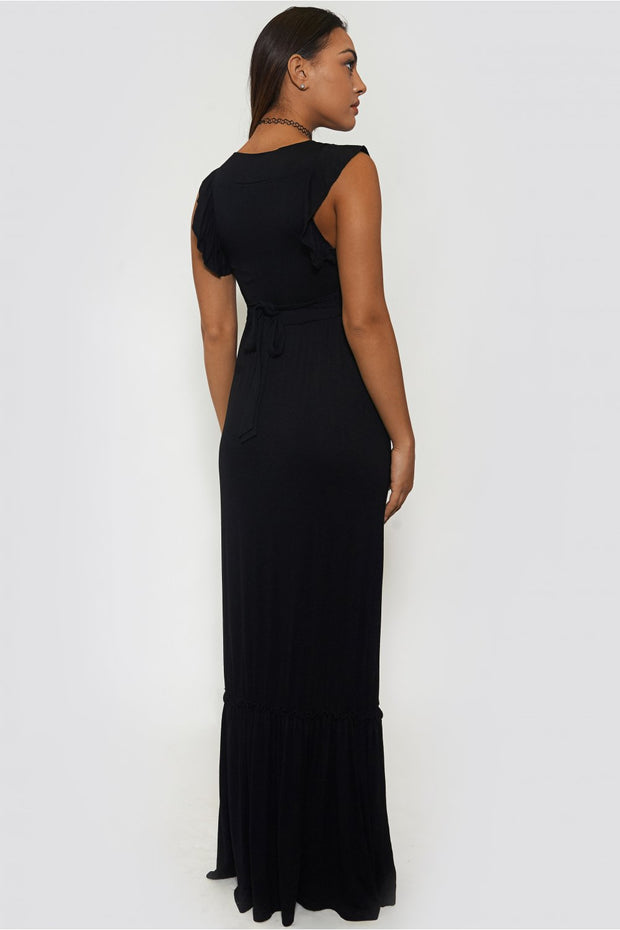 Serina Black Frill Maxi Dress