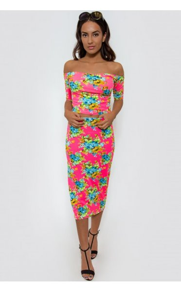 Flower Trip Pink Bardot Co-Ord
