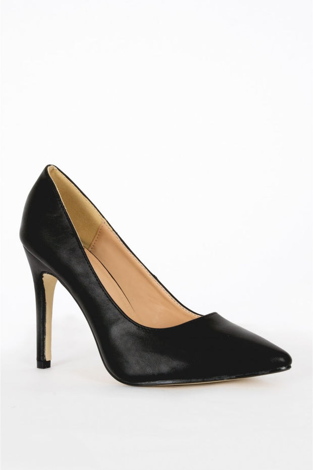 Lanica Black PU Pointed Toe Court Shoes