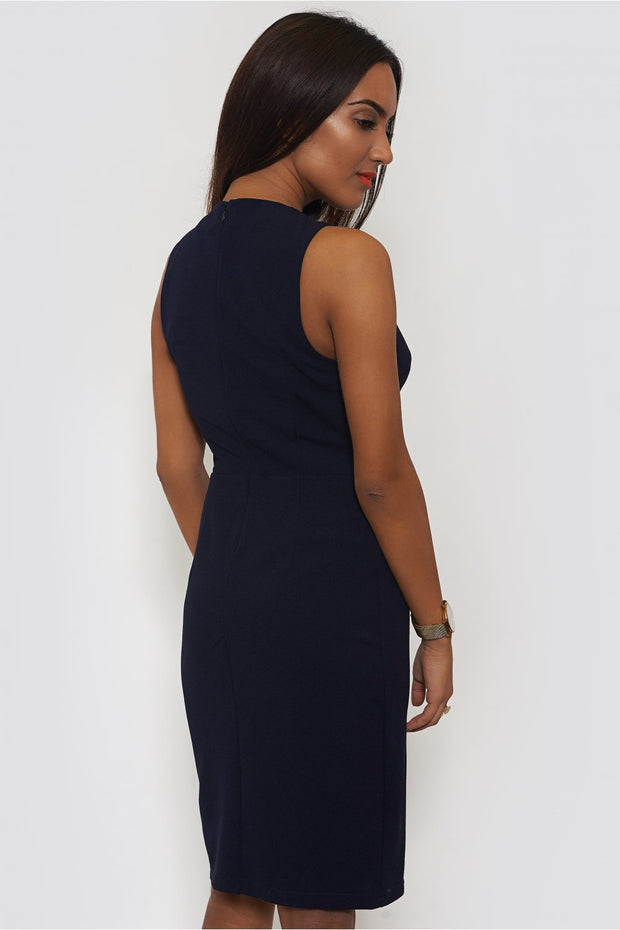 LUXE Chain Front Navy Shift Dress