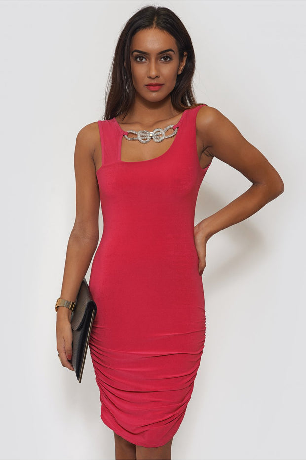 Pink Embellished Bodycon Dress