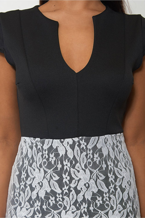 Black Lace Detail Bodycon Dress