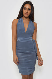 Multiway Grey Slinky Grecian Midi Dress