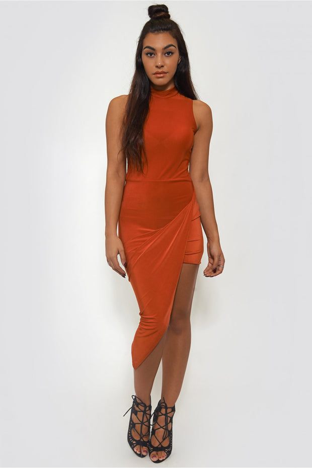 Rust Asymmetrical Bodycon Dress