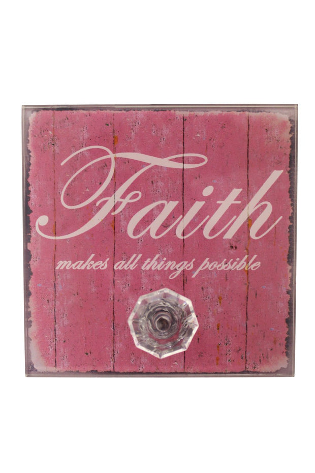 Pink Faith Quote Wall Plaque