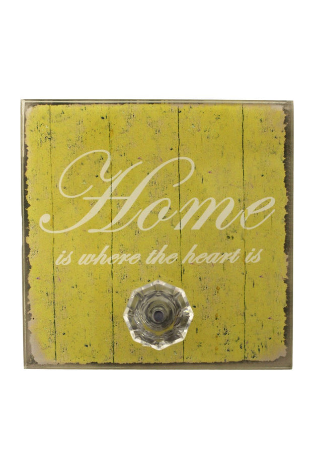 Yellow Home Quote Wall Plaque