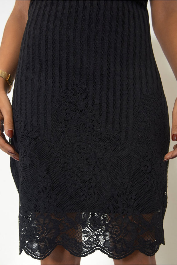 Mia Black Lace Shift Dress