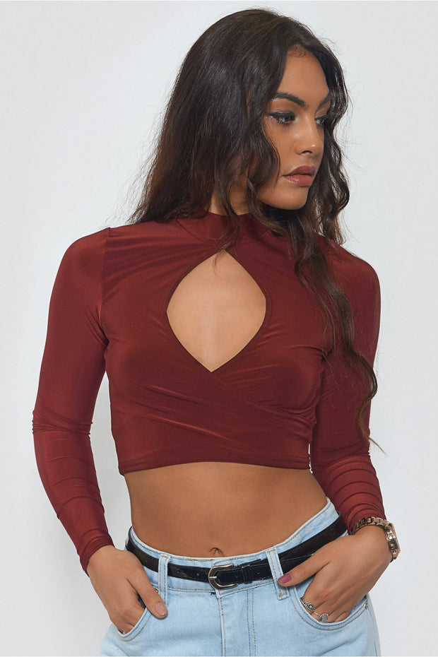 Burgundy High Neck Crop Top