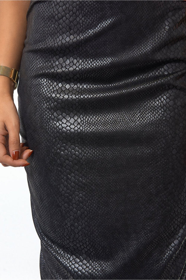 Snakeskin Black Bodycon Skirt