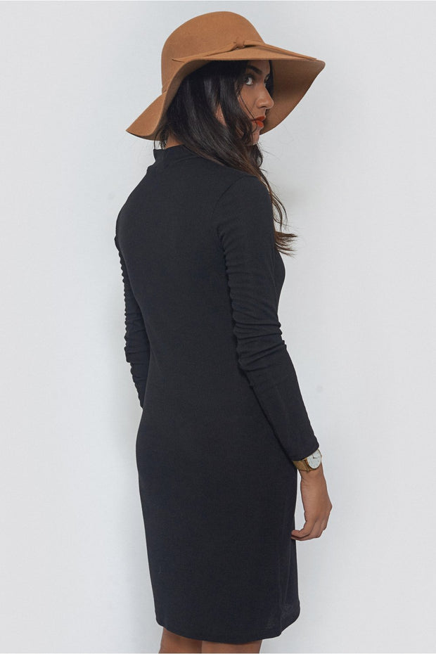 Black High Neck Mini Dress