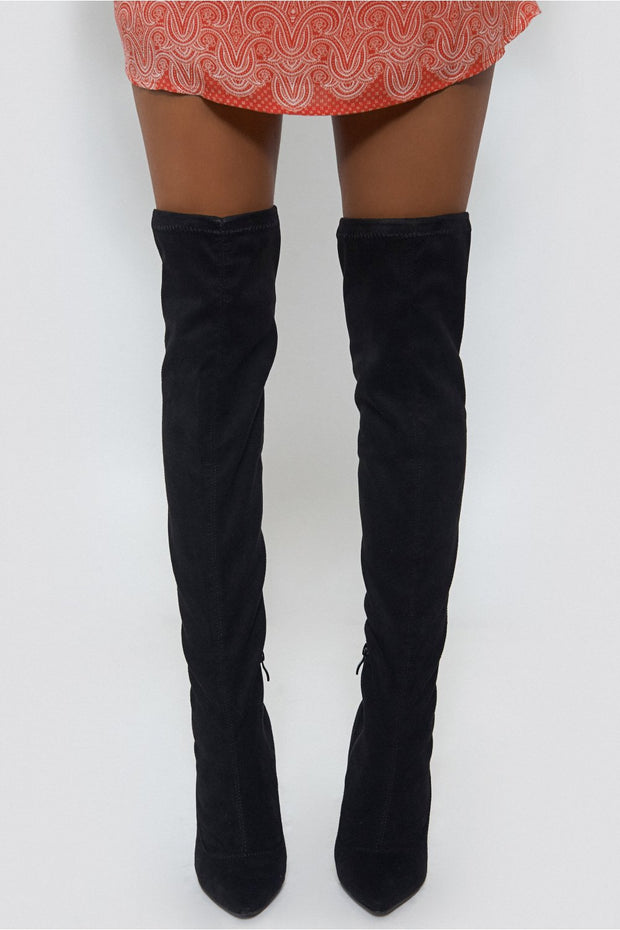 Celeb Style Over The Knee Black Suede Boots