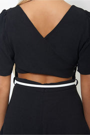Black Cross Back Playsuit