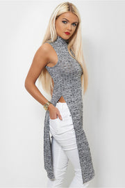 Grey High Neck Side Split Top