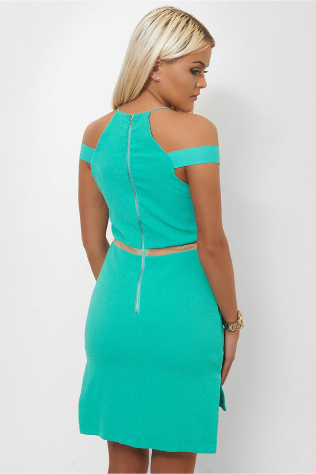 Side Split Green Mesh Shift Dress