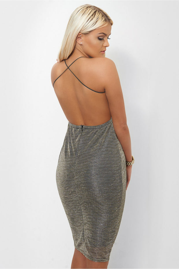 Silver Shimmer Cross Back Bodycon Dress