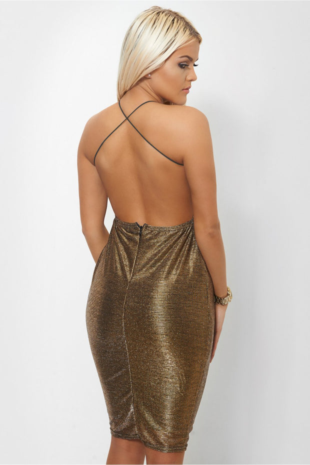 Gold Shimmer Cross Back Bodycon Dress