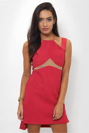 Side Split Pink Mesh Shift Dress