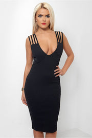 Lola Black Strap Bodycon Dress