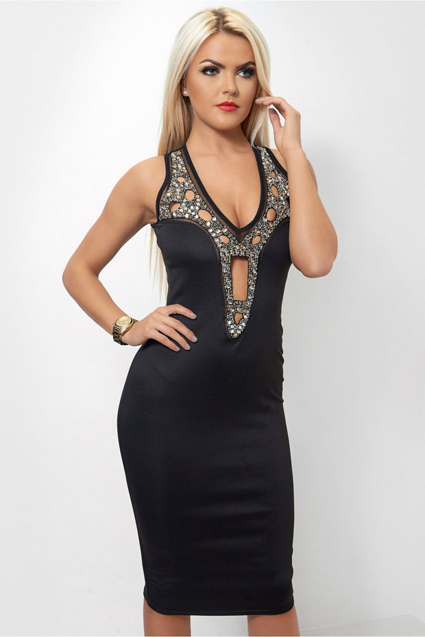 Kira Black Embellished Bodycon Dress