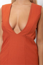 Haite Rust V Front Plunge Dress