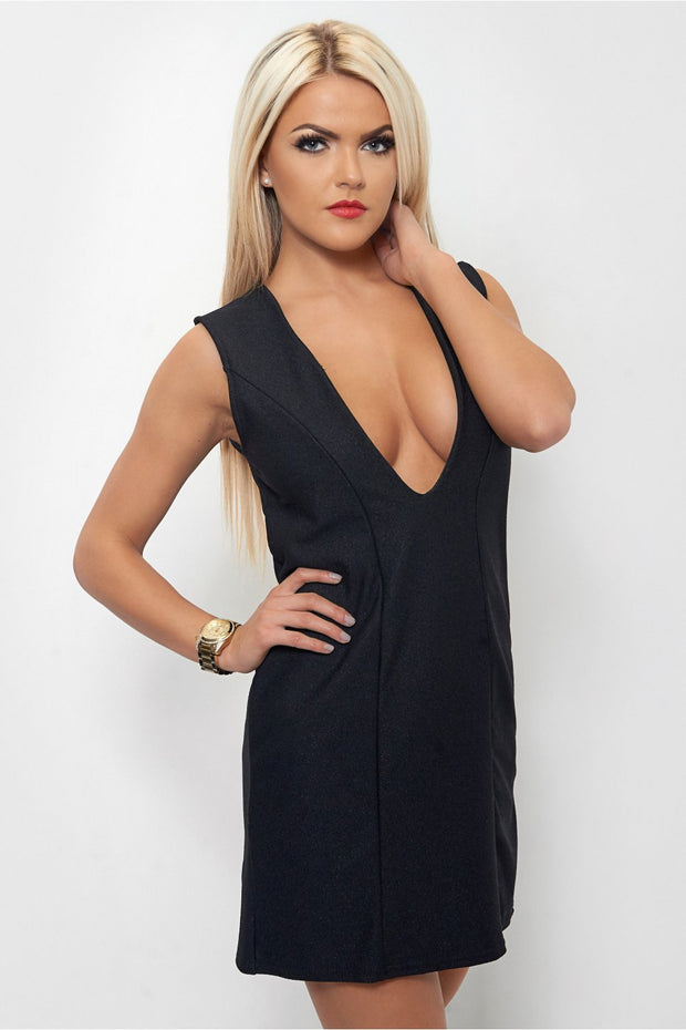 Haite Black V Front Plunge Dress