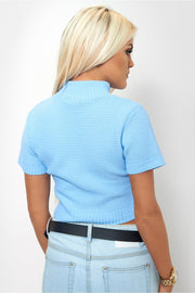 Blue Cropped Boxy Jumper