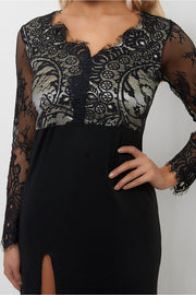 Chanel LUXE Black Lace Maxi Dress
