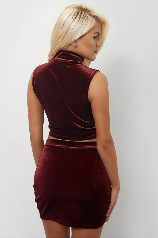 Tia Velvet Burgundy Co-Ord