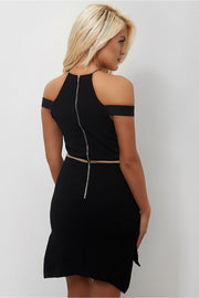 Black Mesh Side Split Shift Dress