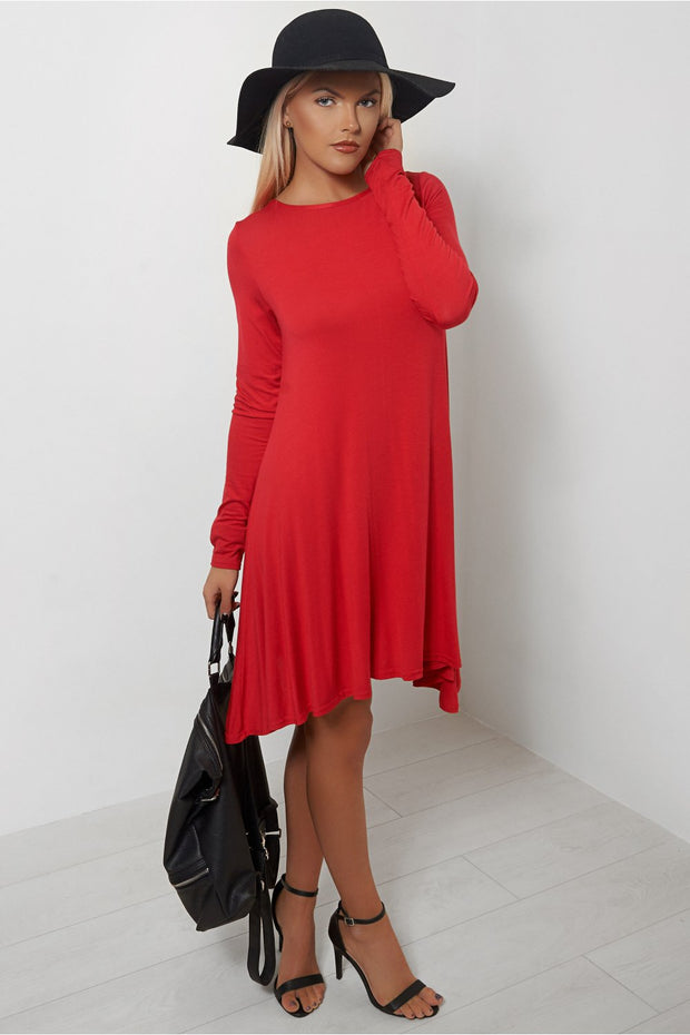 Darcy Red Swing Dress
