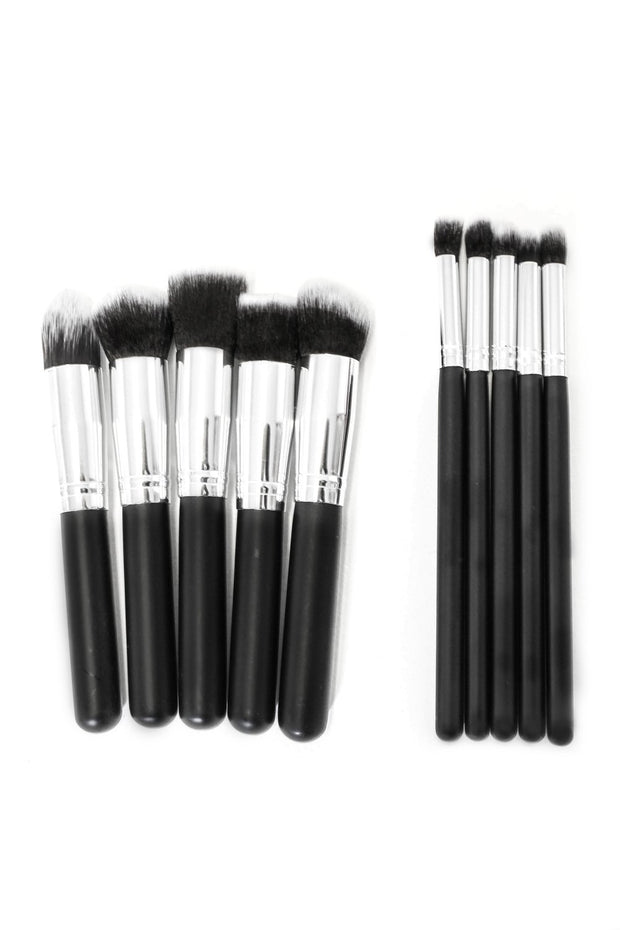 Monte Professional Black & Silver Brush Set