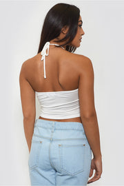 Nia White Crochet Crop Top