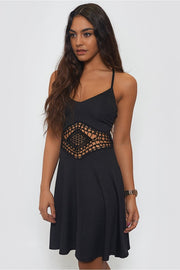 Bohemian Black Crochet Skater Dress