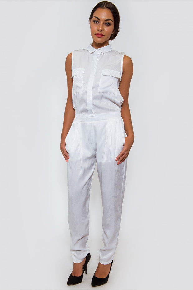 Ella White Satin Utility Jumpsuit