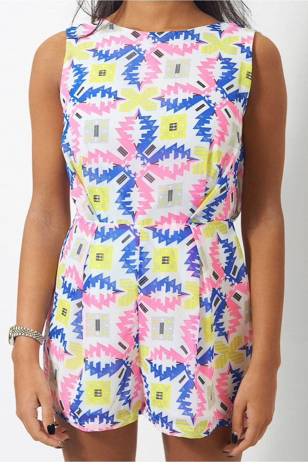 Miami Bright Aztec Playsuit