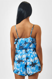 Palm Print Frill Playsuit In Blue