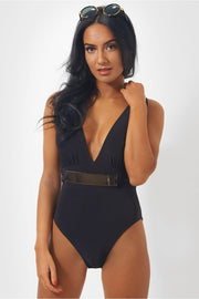 Gigi Gold Belted Black Bodysuit