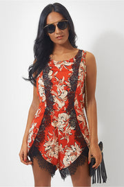 Sansa Orange Lace Playsuit