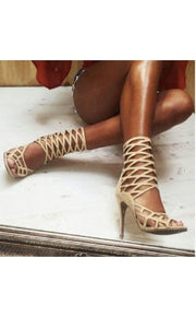 Lui Cream Caged Heels