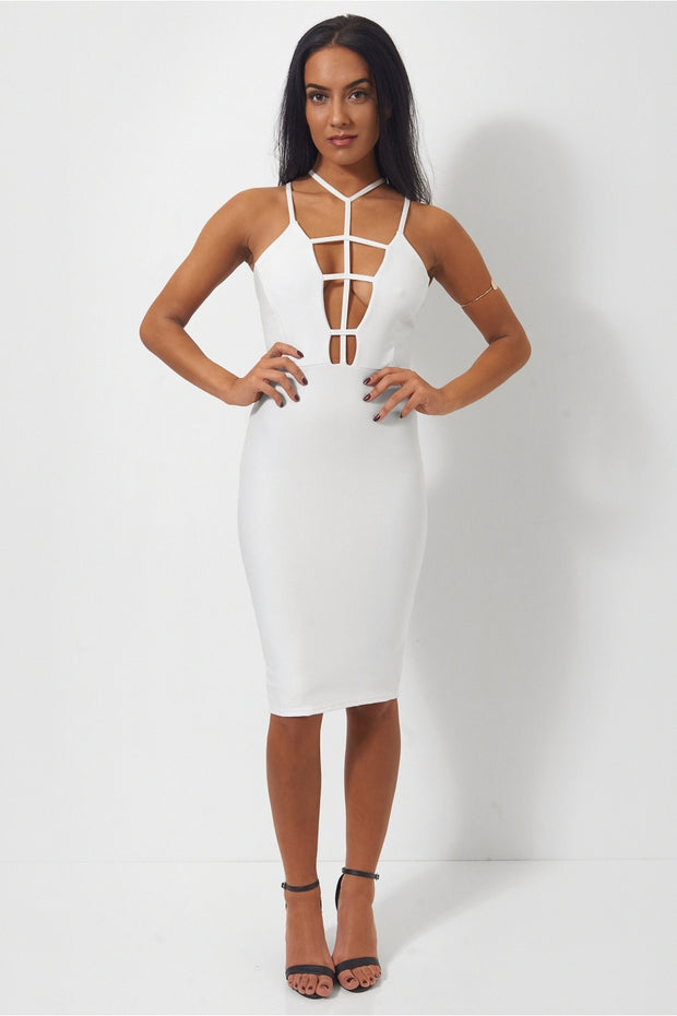 Sia White Caged Midi Dress