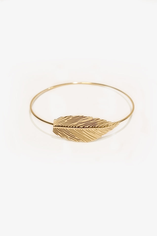 Gold Feather Arm Bracelet