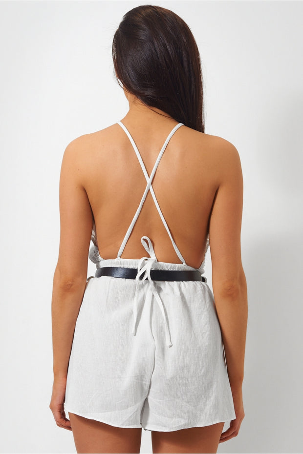 Esme White Backless Cross Back Playsuit