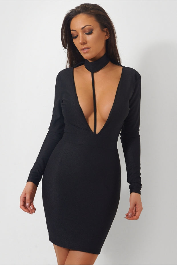 Mian Black Choker Mini Dress