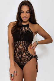 Tiki Black Crochet Swimsuit