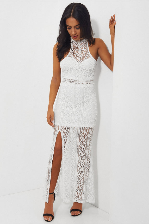Lola White Lace Maxi Dress