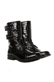 Studded Black Patent Croc Boots
