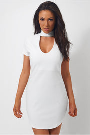Mina Curved Hem White Choker Mini Dress