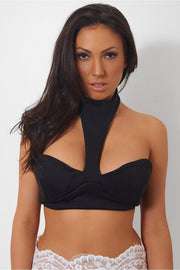 Riana Halterneck Bralet Top In Black